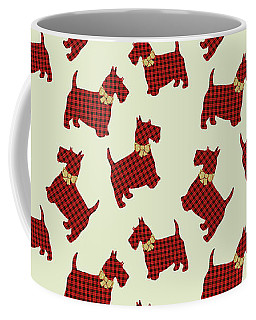 Coffee Mug featuring the mixed media Scottie Dog Plaid by Christina Rollo