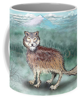 Coffee Mug featuring the digital art Wolf by Kevin Middleton