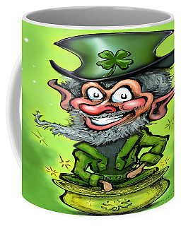 Coffee Mug featuring the digital art Lucky Leprechaun On Pot Of Gold by Kevin Middleton