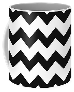 Coffee Mug featuring the mixed media Black White Geometric Pattern by Christina Rollo