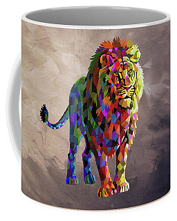 Geometrical Lion King Coffee Mug by Anthony Mwangi