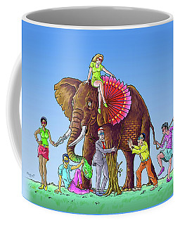 The Blind And The Elephant Coffee Mug by Anthony Mwangi