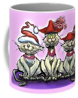 Coffee Mug featuring the digital art Cats In Red Hats by Kevin Middleton