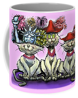 Coffee Mug featuring the digital art Cats In Crazy Hats by Kevin Middleton