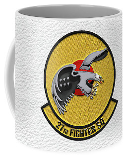 Coffee Mug featuring the digital art 27th Fighter Squadron - 27 Fs Patch Over White Leather by Serge Averbukh