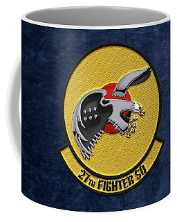 Coffee Mug featuring the digital art 27th Fighter Squadron - 27 Fs Over Blue Velvet by Serge Averbukh