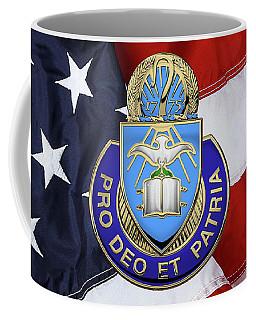 Coffee Mug featuring the digital art U.s. Army Chaplain Corps - Regimental Insignia Over American Flag by Serge Averbukh