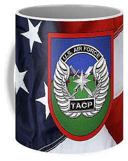 Coffee Mug featuring the digital art U. S.  Air Force Tactical Air Control Party -  T A C P  Beret Flash With Crest Over American Flag by Serge Averbukh