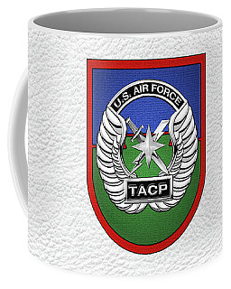 Coffee Mug featuring the digital art U. S.  Air Force Tactical Air Control Party -  T A C P  Beret Flash With Crest Over White Leather by Serge Averbukh