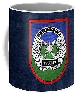Coffee Mug featuring the digital art U. S.  Air Force Tactical Air Control Party -  T A C P  Beret Flash With Crest Over Blue Velvet by Serge Averbukh