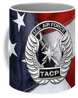 Coffee Mug featuring the digital art U. S.  Air Force Tactical Air Control Party -  T A C P  Badge Over American Flag by Serge Averbukh