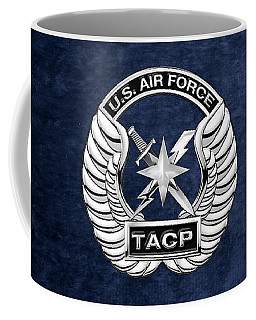 Coffee Mug featuring the digital art U. S.  Air Force Tactical Air Control Party -  T A C P  Badge Over Blue Velvet by Serge Averbukh