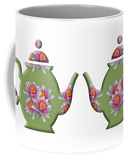 Water Lily Pattern Teapot Coffee Mug