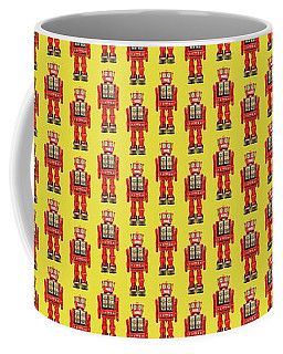 Coffee Mug featuring the photograph Red Tin Toy Robot Pattern by YoPedro
