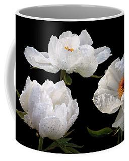 Raindrops On White Tree Peonies Coffee Mug by Gill Billington