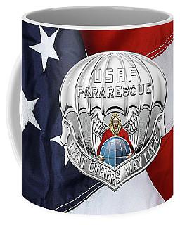 U. S.  Air Force Pararescuemen - P J Badge Over American Flag Coffee Mug by Serge Averbukh
