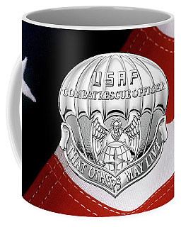 U. S.  Air Force Combat Rescue Officer - C R O Badge Over American Flag Coffee Mug by Serge Averbukh