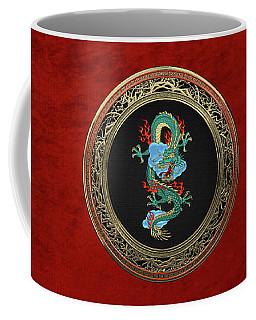 Treasure Trove - Turquoise Dragon Over Red Velvet Coffee Mug by Serge Averbukh