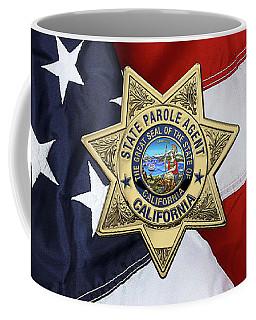 California State Parole Agent Badge Over American Flag Coffee Mug by Serge Averbukh