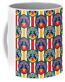 Plumed Circus Ponies Gold Star On Red Coffee Mug