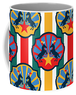 Coffee Mug featuring the digital art Plumed Circus Ponies Gold Star On Red by MM Anderson
