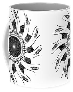 Coffee Mug featuring the digital art Mandala Black And White by Linda Lees