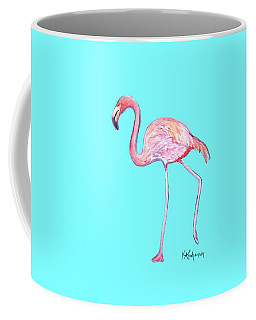 Flamingo On Blue Coffee Mug