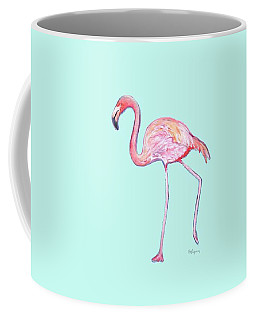 Flamingo On Mint Background Coffee Mug