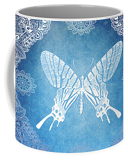 Coffee Mug featuring the mixed media Bohemian Ornamental Butterfly Deep Blue Ombre Illustratration by Sharon Mau