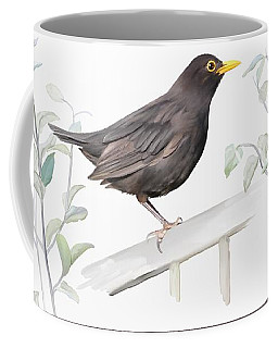 Coffee Mug featuring the painting Ms. Blackbird Is Brown by Ivana Westin