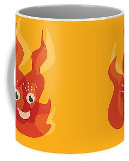 Happy Orange Burning Fire Character Coffee Mug