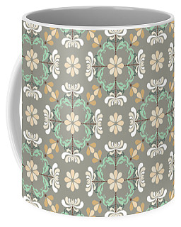 Coffee Mug featuring the digital art Folk Art Inspired Chrysanthemums In Muted Hues by MM Anderson