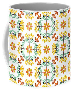 Coffee Mug featuring the digital art Folk Art Inspired Chrysanthemums Yellow And Orange by MM Anderson
