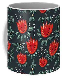 Dark Floral Pattern Of Abstract Red Tulips Coffee Mug
