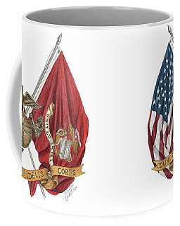 Semper Fidelis Crossed Flags Coffee Mug