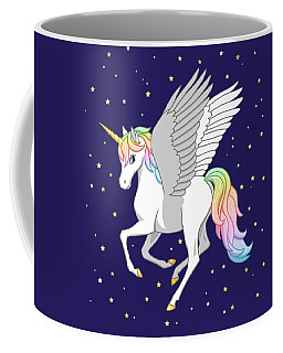 Pretty Rainbow Unicorn Flying Horse Coffee Mug