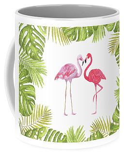 Coffee Mug featuring the painting Magical Tropicana Love Flamingos And Leaves by Georgeta Blanaru