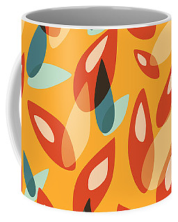 Orange Blue Yellow Abstract Autumn Leaves Pattern Coffee Mug