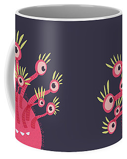 Funny Pink Monster With Eleven Eyes Coffee Mug