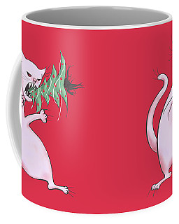Funny White Cat Eats Christmas Tree Coffee Mug