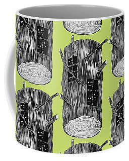 Tree Log With Mysterious Forest Creatures Coffee Mug