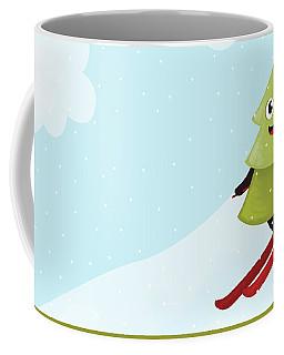 Happy Pine Tree On Ski Coffee Mug