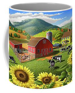 Sunflowers And Cows Farm Landscape Painting - 1950s Appalachian Painting - Rural Americana Folk Art Coffee Mug