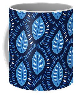 Pretty Decorative Blue Leaves Pattern Coffee Mug