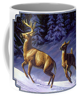 Whitetail Deer Painting - Startled Coffee Mug