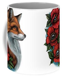 Fox And Poppies Coffee Mug