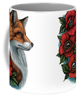 Fox And Poppies Coffee Mug