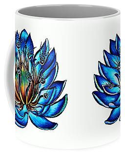 Weird Multi Eyed Blue Water Lily Flower Coffee Mug