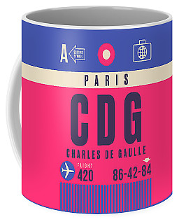 Retro Airline Luggage Tag - Cdg Paris Charles De Gaulle Coffee Mug