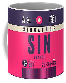 Retro Airline Luggage Tag - Sin Singapore Changi Coffee Mug